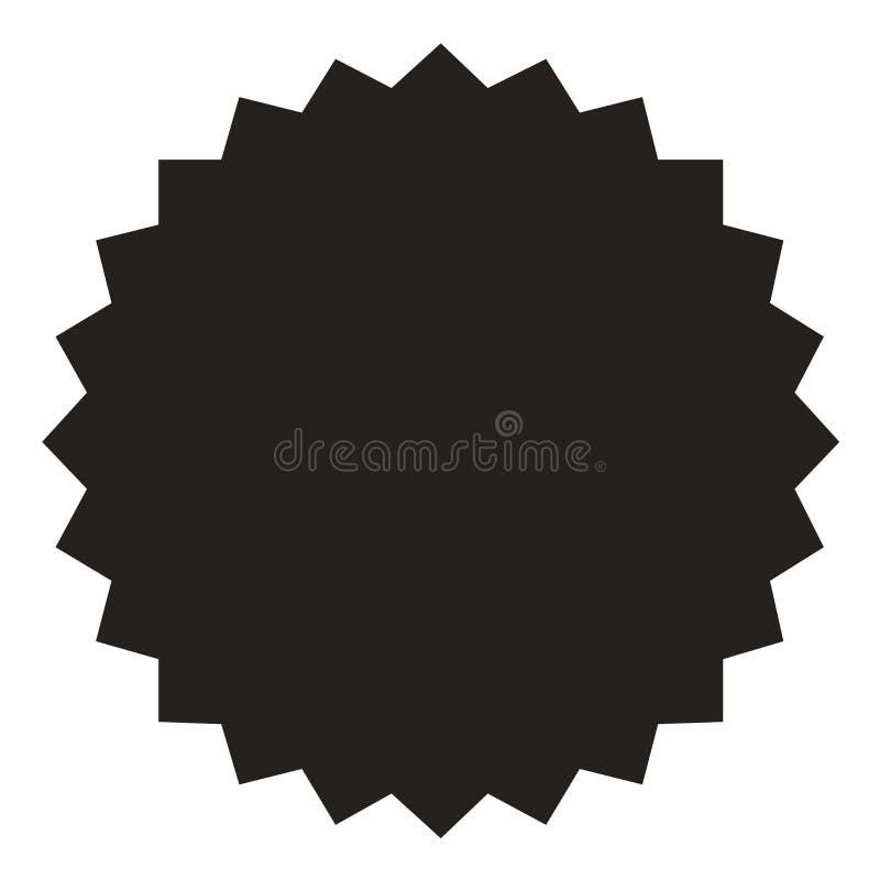 Icône de starburst, insigne de rayon de soleil, label, autocollant Noir sur la couleur blanche Illustration de vecteur illustration de vecteur
