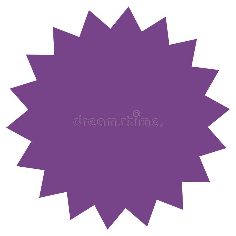 Icône de starburst, insigne de rayon de soleil, label, autocollant Pourpre, lilas, couleur violette illustration de vecteur