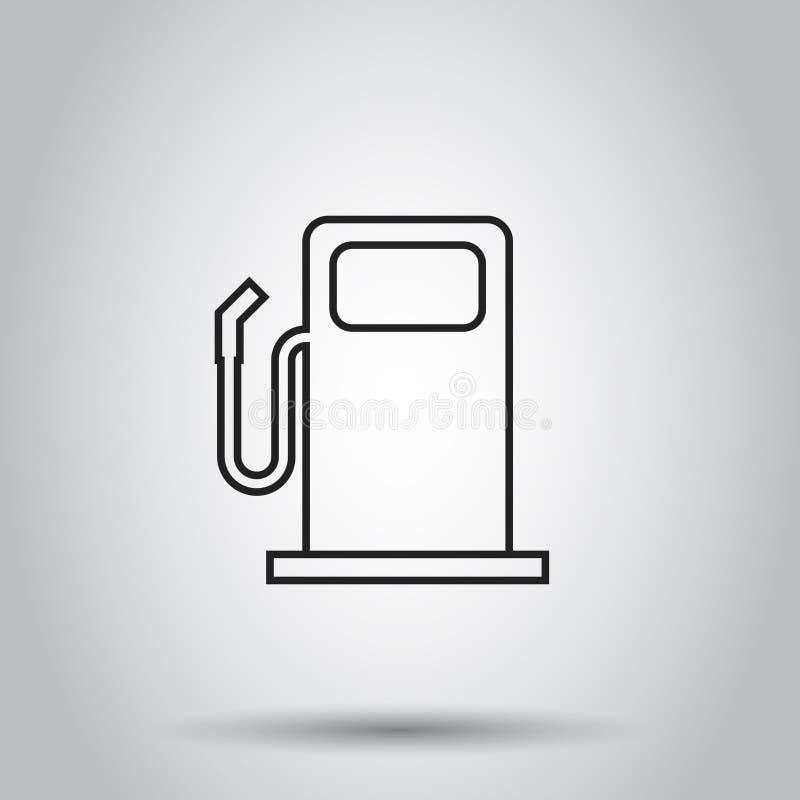 Icône de station de gaz combustible dans la ligne style Illustration de vecteur sur l'isolant illustration stock