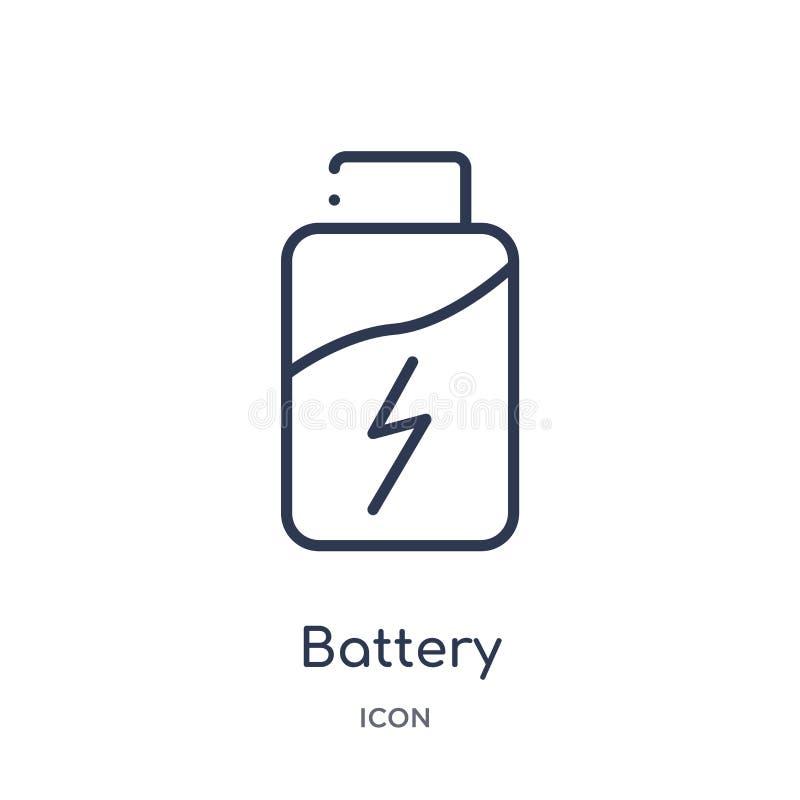 icône de statut de chargement de batterie de collection d'ensemble d'outils et d'ustensiles Ligne mince icône de statut de charge illustration de vecteur