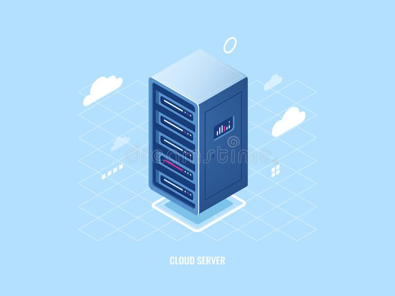 Icône de storage technology de nuage, support isométrique plat de pièce de serveur, concept de sécurité de blockchain, Internet d illustration stock