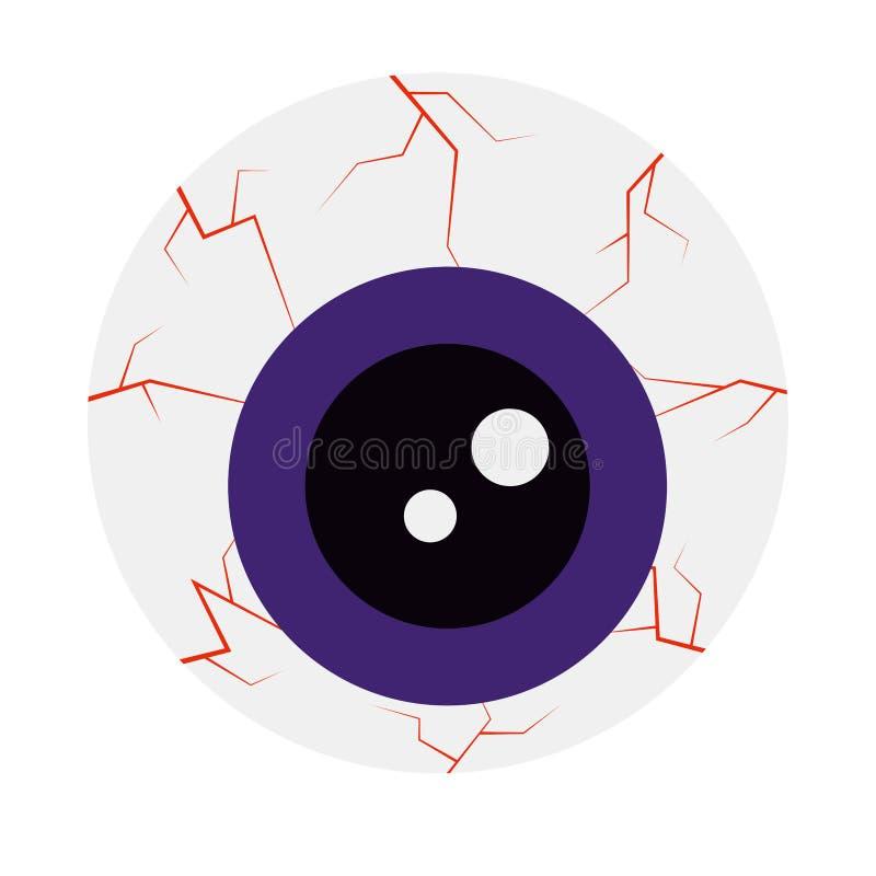 Icône de style de bande dessinée d'oeil de Halloween d'isolement sur le fond blanc illustration de vecteur