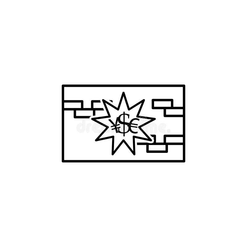 icône de style d'ensemble de mur de devise Élément d'icône de guerre de devise pour les apps mobiles de concept et de Web Ligne m illustration stock
