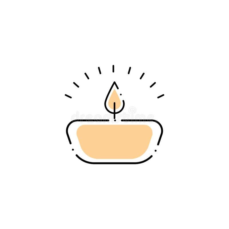 Icône de style de remplissage de bougies du spa illustration stock