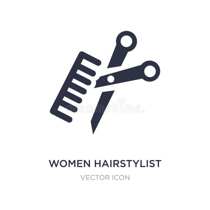icône de styliste en coiffure de femmes sur le fond blanc Illustration simple d'élément de concept de cartes et de drapeaux illustration stock