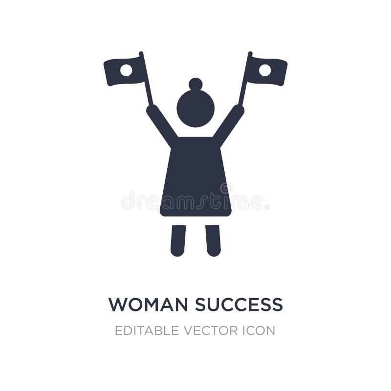 icône de succès de femme sur le fond blanc Illustration simple d'élément de Seo et de concept de Web illustration stock
