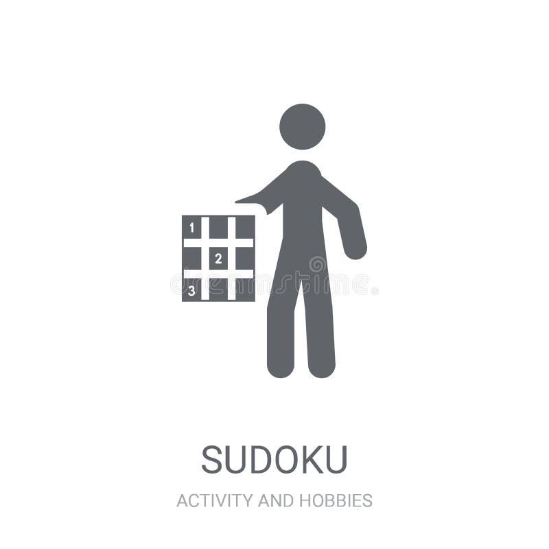 Icône de Sudoku Concept à la mode de logo de Sudoku sur le fond blanc de illustration libre de droits