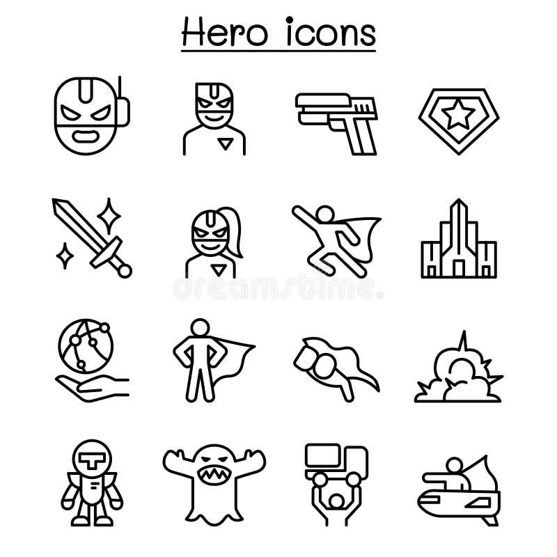 Icône de superhéros réglée dans la ligne style mince illustration stock