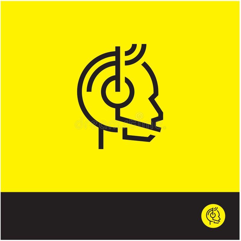 Icône de support à la clientèle, logo de centre d'appels, ligne signe, icône d'homme d'administrateur de service illustration stock