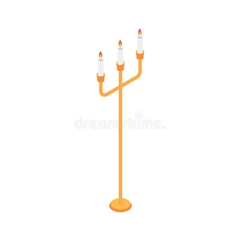 Icône de support de bougie, style isométrique illustration libre de droits