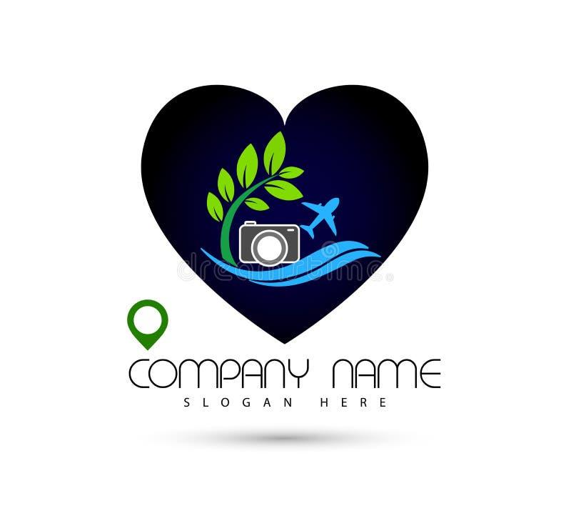 Icône de symbole de concept de construction de logo de vecteur de vague de mer de caméra de plage d'été de vacances du soleil de  illustration de vecteur