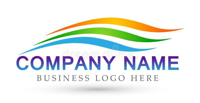 Icône de symbole de concept de construction de logo de vecteur de vague de mer de vagues d'eau sur le fond blanc illustration stock