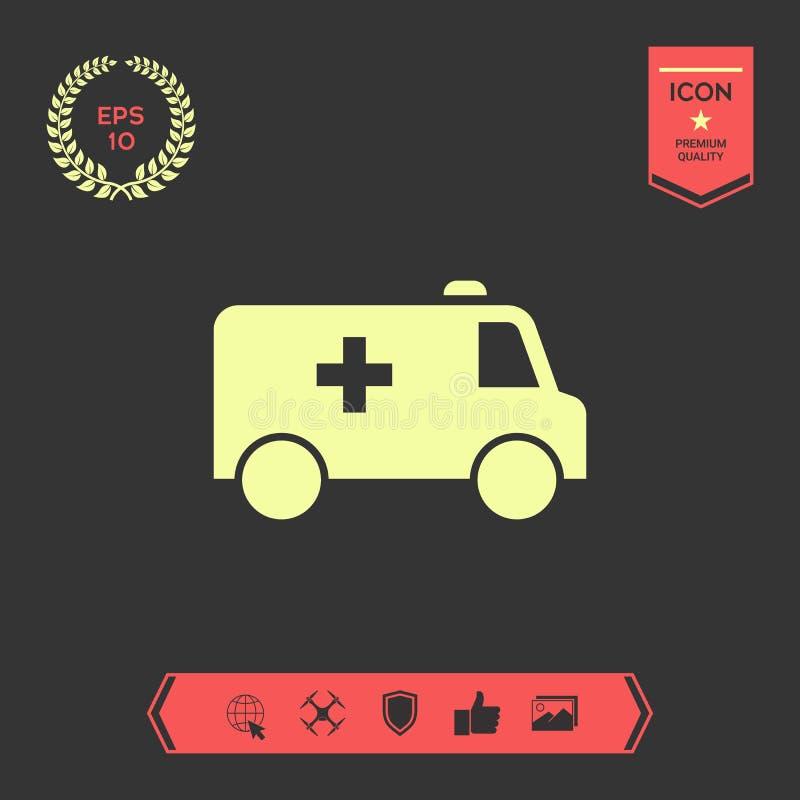 Icône de symbole d'ambulance Éléments graphiques pour votre conception illustration stock