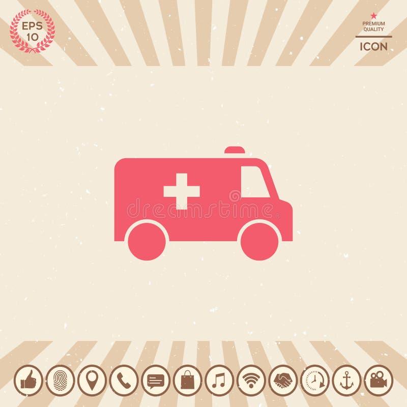 Icône de symbole d'ambulance illustration stock