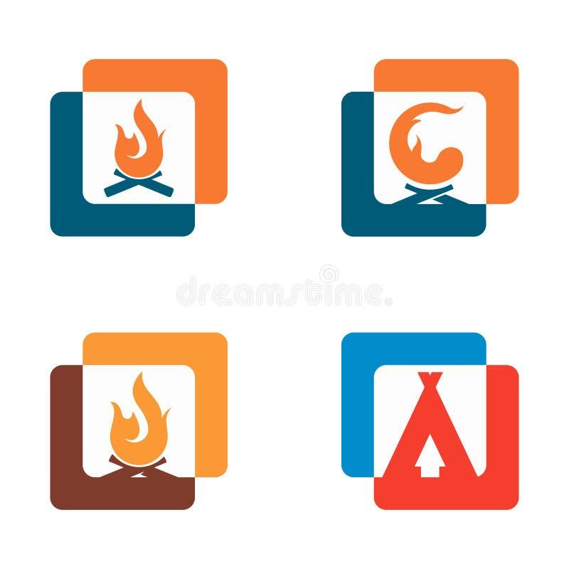 Icône de symbole de part d'image d'aventure de tente du feu de camp illustration de vecteur