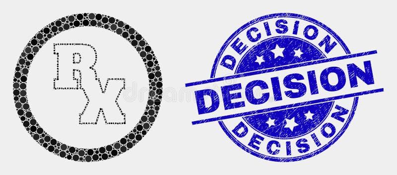 Icône de symbole de reçu de RX pointillée par vecteur et joint grunge de timbre de décision illustration libre de droits