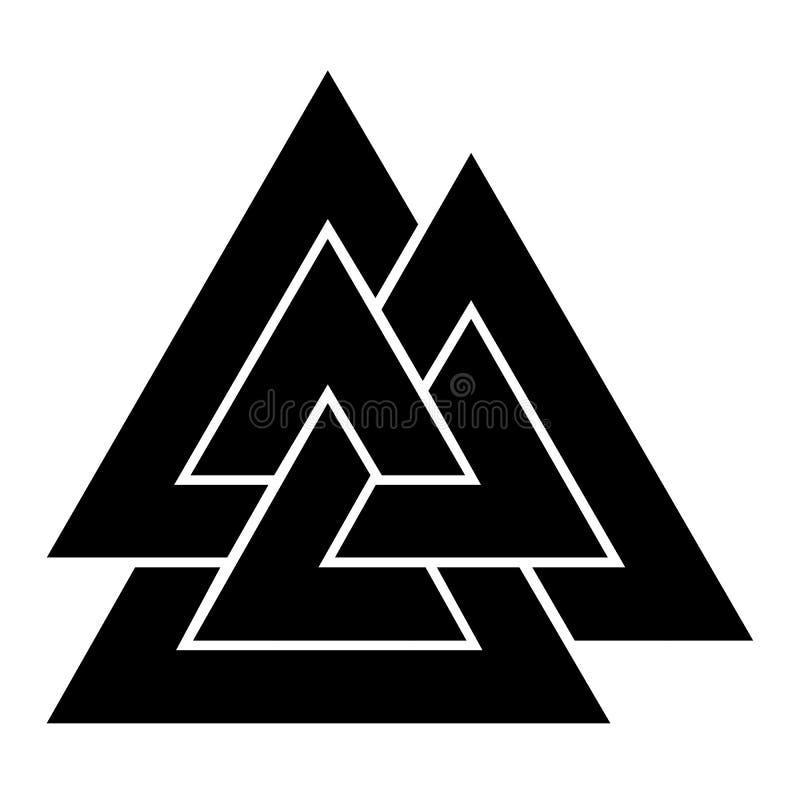 Icône de symbole de Valknut illustration stock