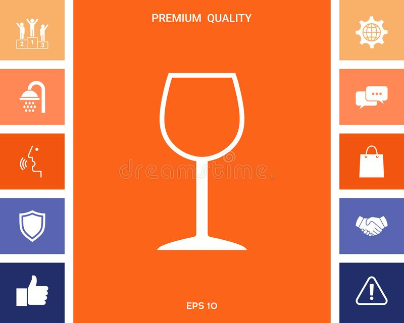 Icône de symbole de verre à vin illustration stock