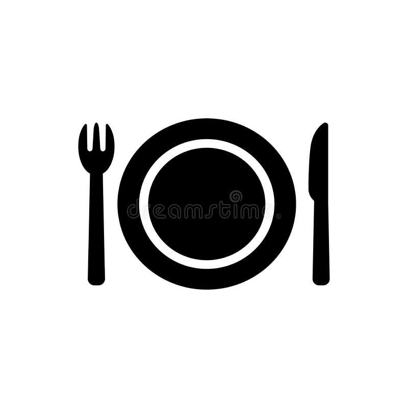 Icône de symbole de wagon-restaurant ou de restaurant illustration stock