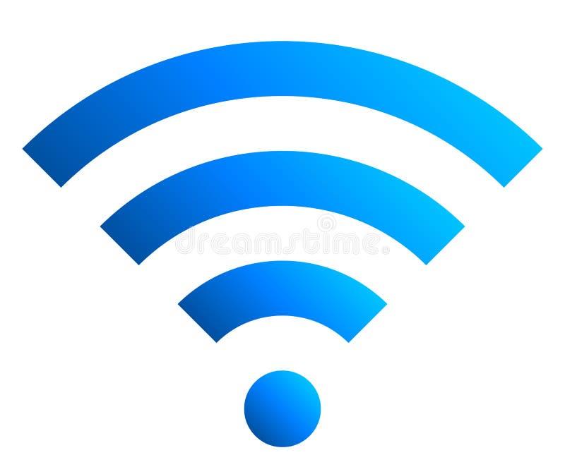 Icône de symbole de Wifi - gradient simple bleu, d'isolement - vecteur illustration de vecteur