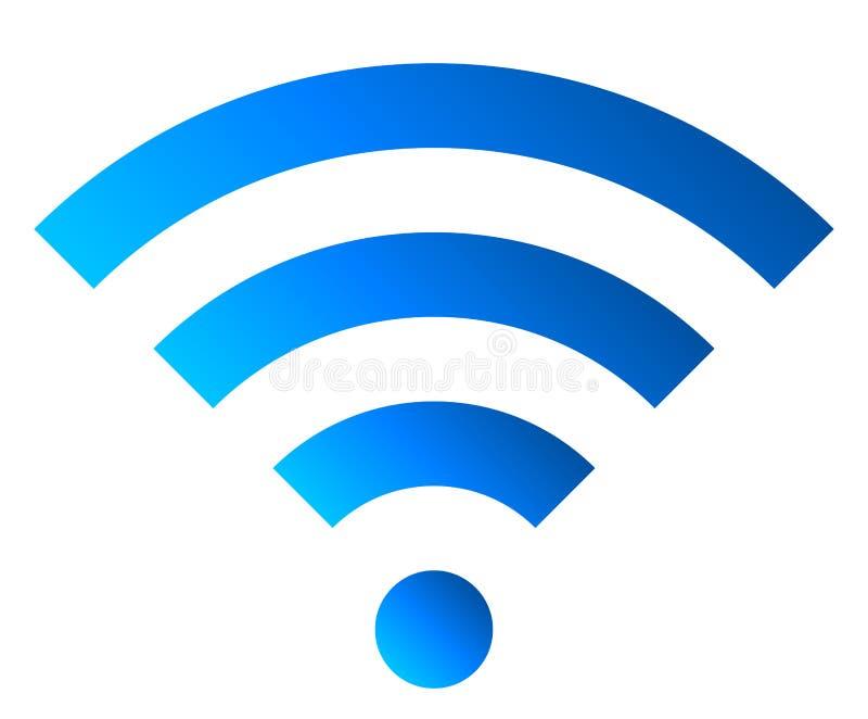 Icône de symbole de Wifi - gradient simple bleu, d'isolement - vecteur illustration stock