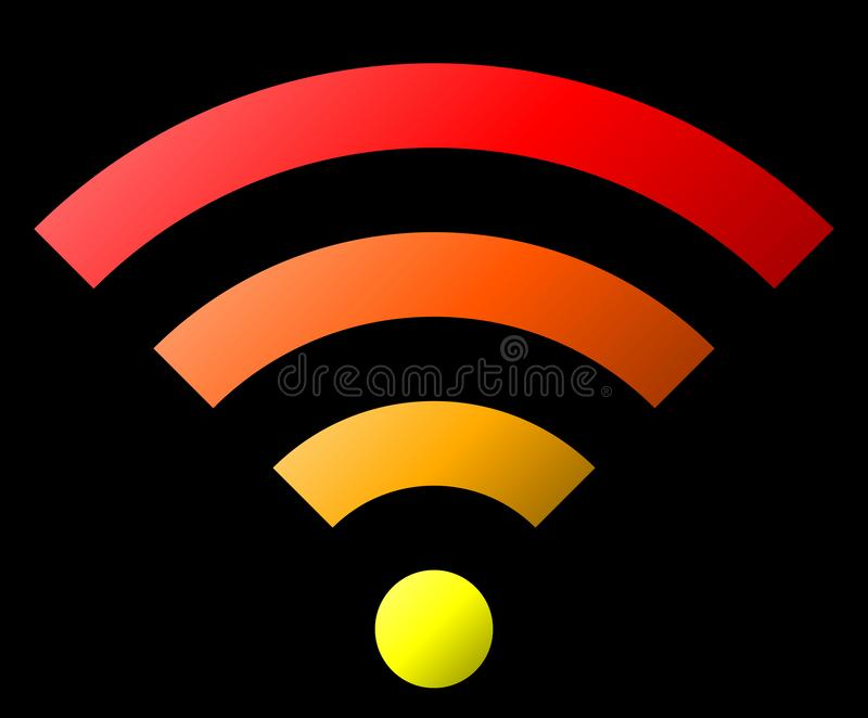 Icône de symbole de Wifi - gradient simple coloré, d'isolement - vecteur illustration libre de droits
