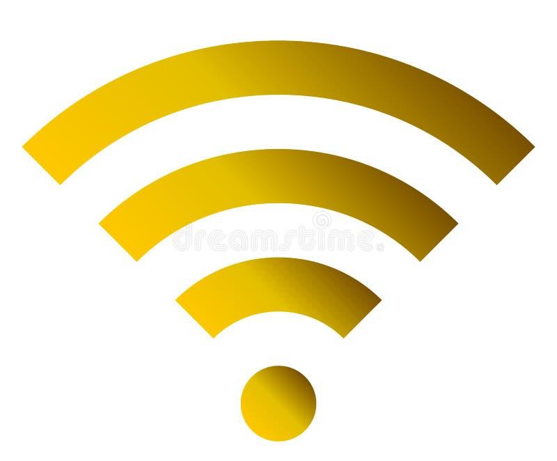 Icône de symbole de Wifi - gradient simple d'or, d'isolement - vecteur illustration libre de droits