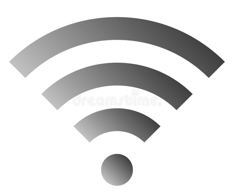 Icône de symbole de Wifi - gradient simple gris moyen, d'isolement - vecteur illustration de vecteur