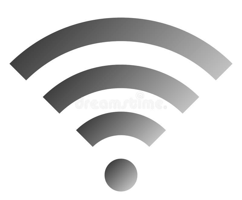 Icône de symbole de Wifi - gradient simple gris moyen, d'isolement - vecteur illustration libre de droits