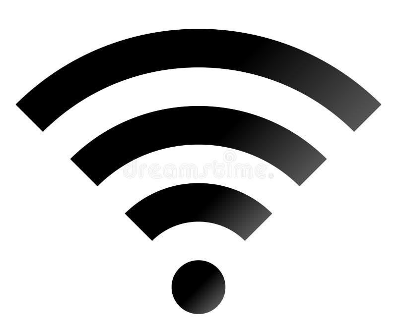 Icône de symbole de Wifi - gradient simple noir, d'isolement - vecteur illustration de vecteur