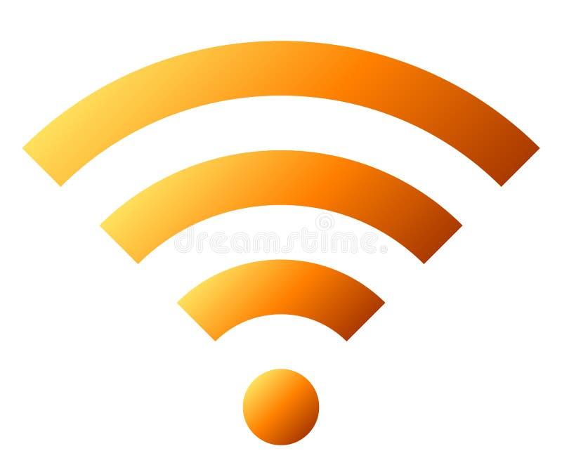 Icône de symbole de Wifi - gradient simple orange, d'isolement - vecteur illustration stock