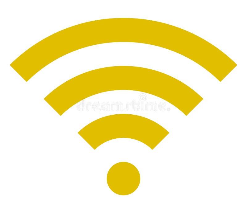 Icône de symbole de Wifi - simple d'or, d'isolement - vecteur illustration stock