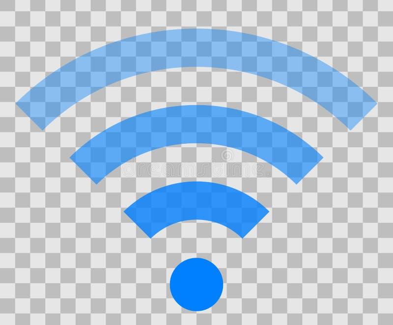 Icône de symbole de Wifi - transparent simple bleu, d'isolement - vecteur illustration libre de droits
