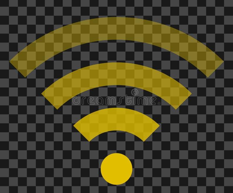 Icône de symbole de Wifi - transparent simple d'or, d'isolement - vecteur illustration stock