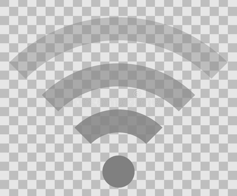 Icône de symbole de Wifi - transparent simple gris moyen, d'isolement - vecteur illustration stock