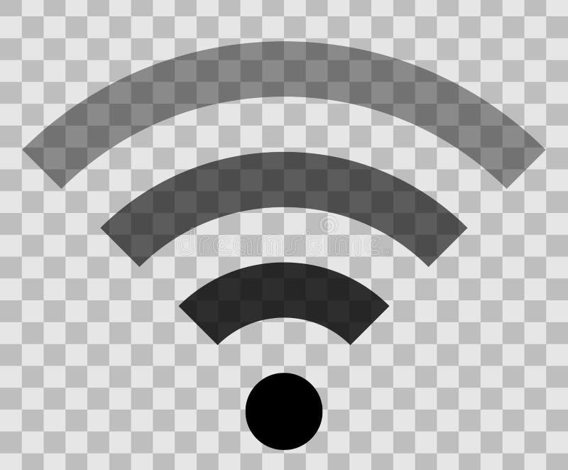 Icône de symbole de Wifi - transparent simple noir, d'isolement - vecteur illustration libre de droits