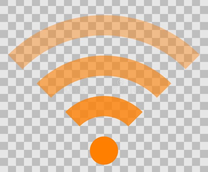 Icône de symbole de Wifi - transparent simple orange, d'isolement - vecteur illustration stock