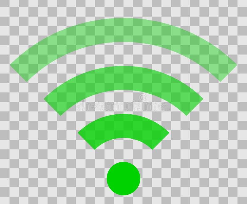 Icône de symbole de Wifi - transparent simple vert, d'isolement - vecteur illustration stock