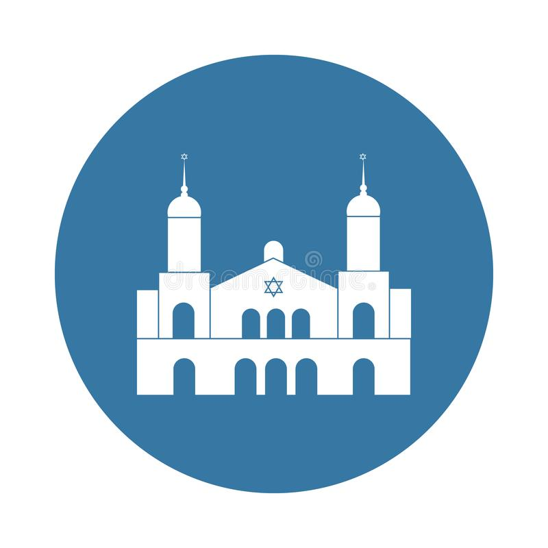 icône de synagogue dans le style d'insigne illustration stock