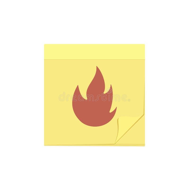 Icône de tâche de note de message du feu de commentaire de brûlure illustration de vecteur