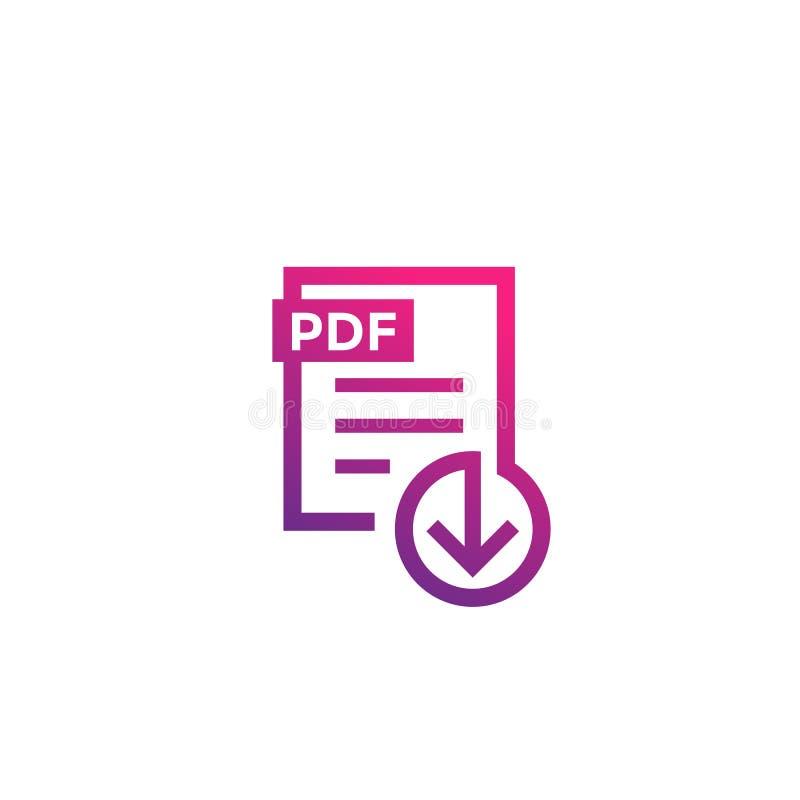 Icône de téléchargement de dossier de PDF sur le blanc illustration stock