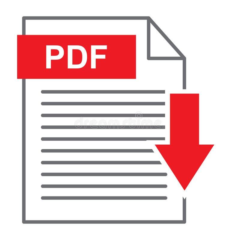 Icône de téléchargement de PDF sur le blanc illustration libre de droits
