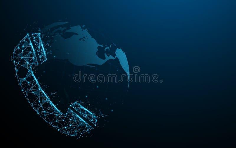 Icône de téléphone avec le globe Concept de connexion de technologie Lignes, triangles et conception de style de particules illustration libre de droits