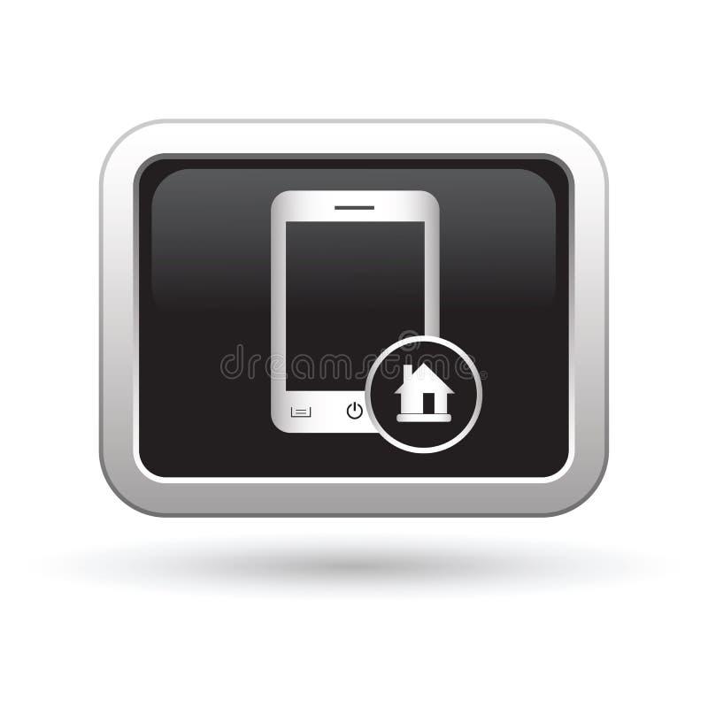 Icône de téléphone avec le menu à la maison illustration de vecteur