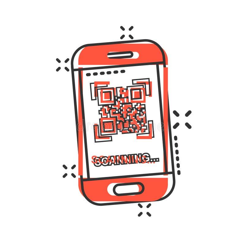 Icône de téléphone de balayage de code de Qr dans le style comique Scanner dans l'illustration de bande dessinée de vecteur de sm illustration libre de droits