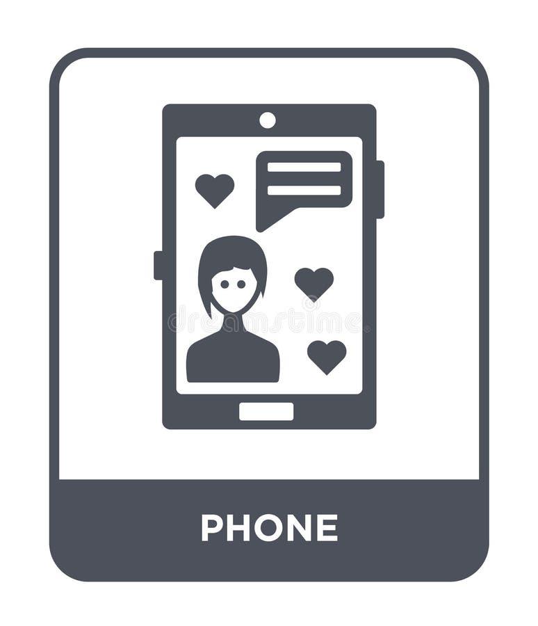 icône de téléphone dans le style à la mode de conception Icône de téléphone d'isolement sur le fond blanc symbole plat simple et  illustration stock