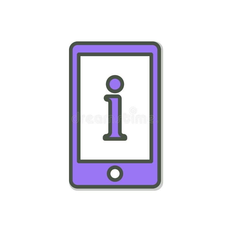 Icône de téléphone portable avec le signe de l'information Icône de téléphone portable et environ, FAQ, aide, concept de signe illustration de vecteur