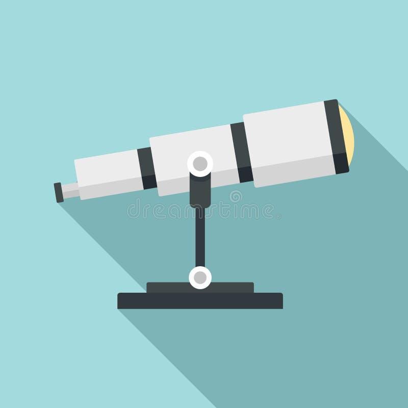 Icône de télescope de recherche spatiale, style plat illustration libre de droits