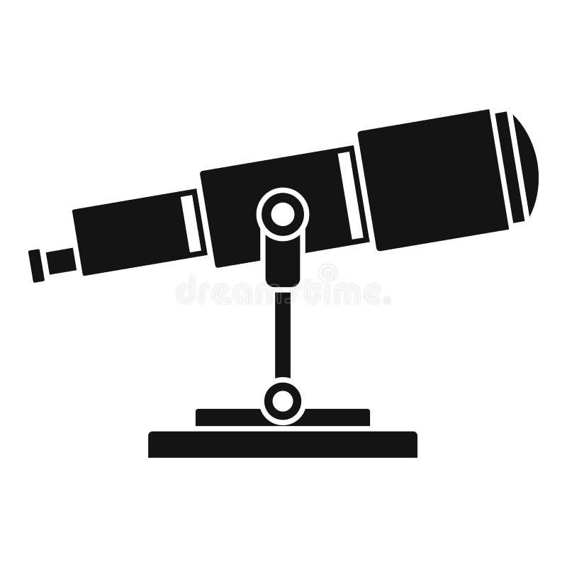 Icône de télescope de recherche spatiale, style simple illustration stock
