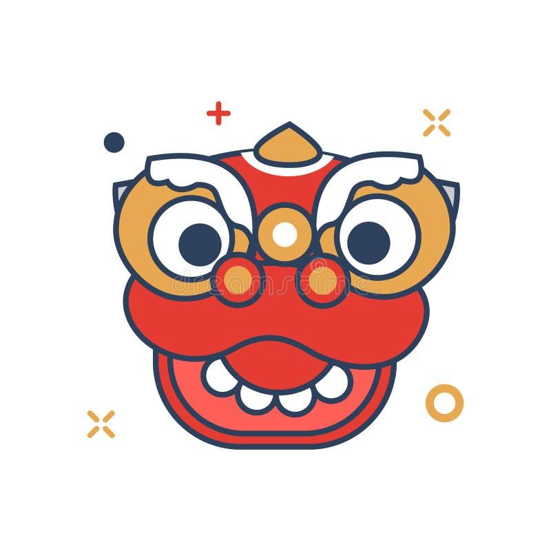 Icône de tête de Barongsai - avec le style rempli par contour illustration de vecteur